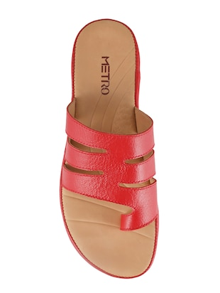 red faux leather toe separator sandals - 15339547 - Standard Image - 4