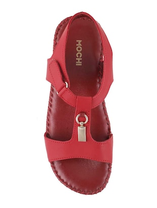 red leather back strap wedges - 15339638 - Standard Image - 4
