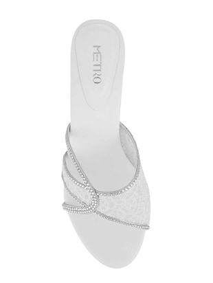 white slip on sandals - 15339873 - Standard Image - 4