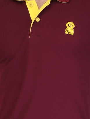 maroon cotton polo t-shirt - 15341473 - Standard Image - 4