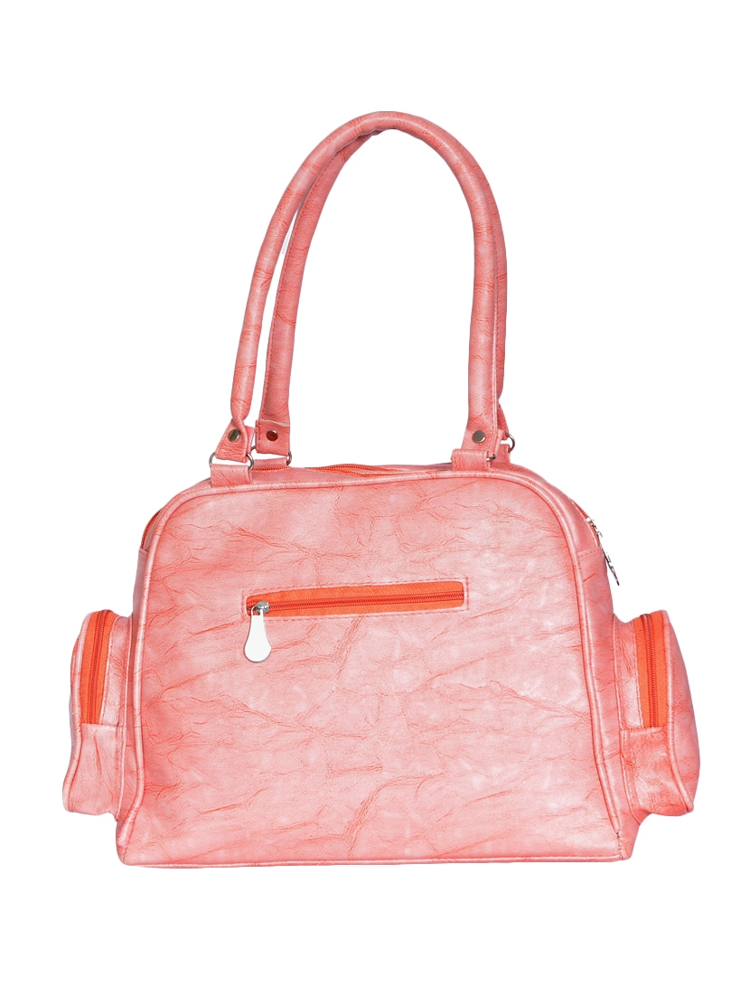 Pink Leatherette Pu Structured Handbag By Borsamania Online Ping For Handbags In India 15343464