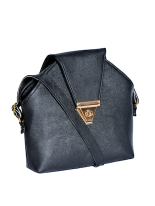 black leatherette (pu) regular sling bag - 15343557 - Standard Image - 4