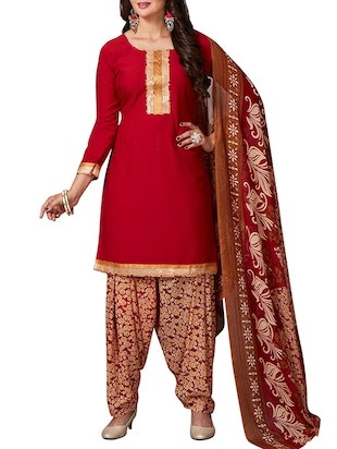 multi colored unstitched combo suit - 15344697 - Standard Image - 4