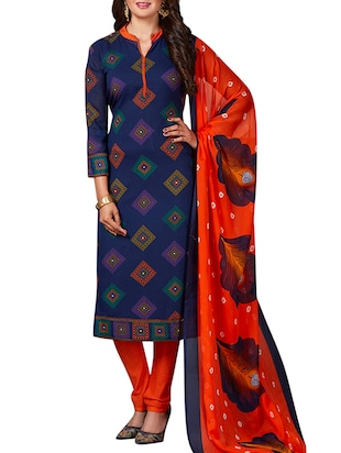 multi colored unstitched combo suit - 15344801 - Standard Image - 4