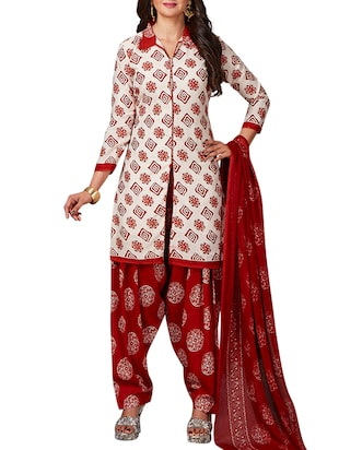 multi colored unstitched combo suit - 15344815 - Standard Image - 4