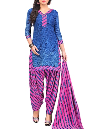 multi colored unstitched combo suit - 15345015 - Standard Image - 4