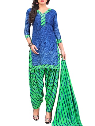 multi colored unstitched combo suit - 15345041 - Standard Image - 4