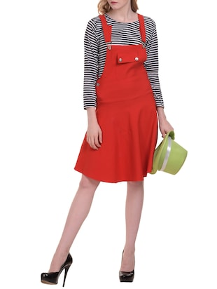 flared patch pocket dungaree dress - 15345553 - Standard Image - 4