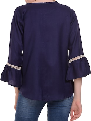Lace trim flute sleeved top - 15345593 - Standard Image - 4