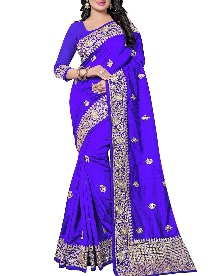 Buy Zari Embroidery Work Saree With Blouse By Aadya Couture Online