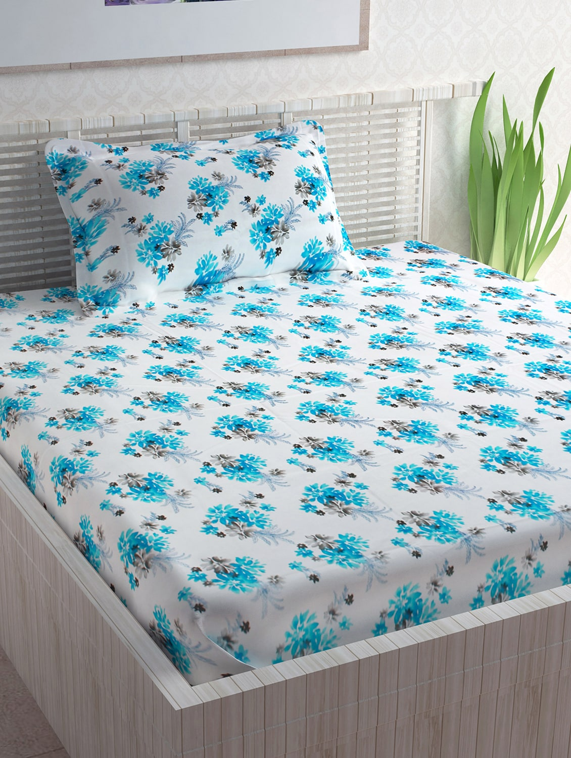 Buy 100% Cotton 120tc Single Bedsheet With 1 Pillow Cover By Divine Casa    Online Shopping For Bed Sheet Sets In India | 15365736