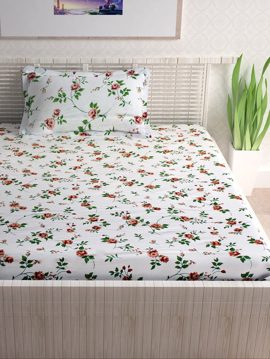 Buy 100% Cotton 120tc Single Bedsheet With 1 Pillow Cover By Divine Casa    Online Shopping For Bed Sheet Sets In India | 15365792