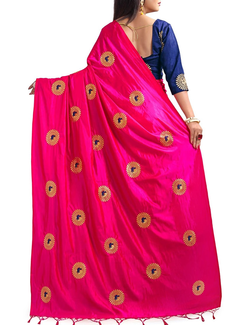 fd0ce29e085e0 Buy Peacock Embroidered Saree With Tassels With Blouse for Women from  Greenvilla Designs for ₹1019 at 66% off
