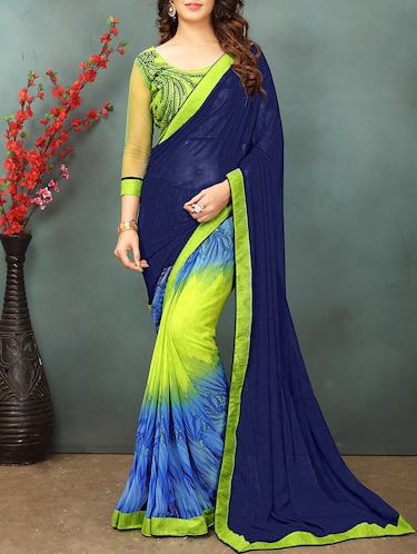 Contrast bordered half and half saree with blouse - 15379308 - Standard Image - 1