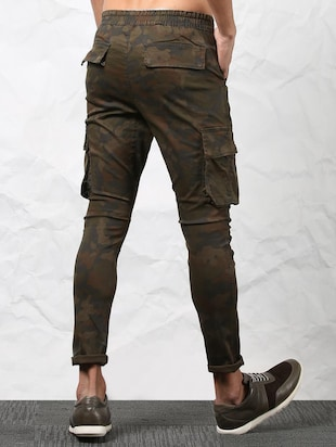 brown cotton cargos casual trousers - 15379410 - Standard Image - 4