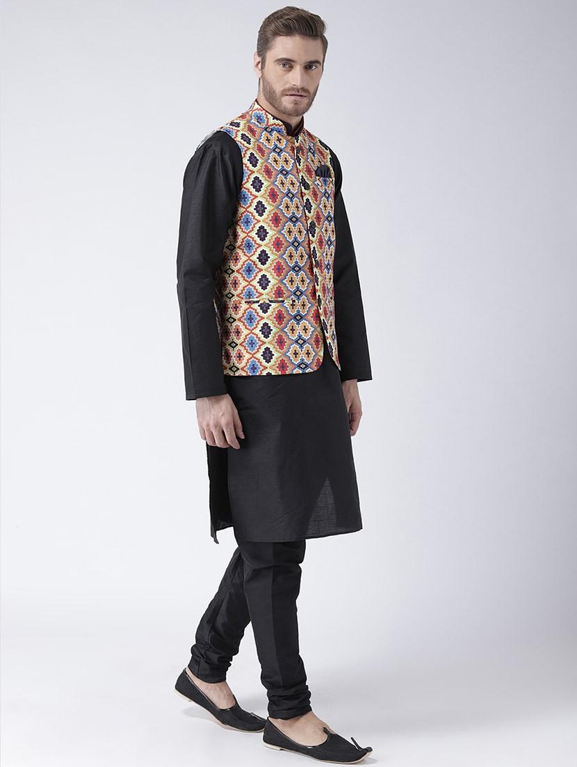 b87e5b814 Buy Black Dupion Kurta Pyjama Set With Nehru Jacket for Men from Hang Up  for ₹2560 at 68% off