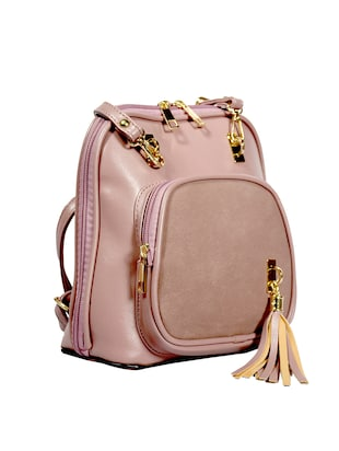 pink leatherette (pu) regular sling bag - 15384510 - Standard Image - 4
