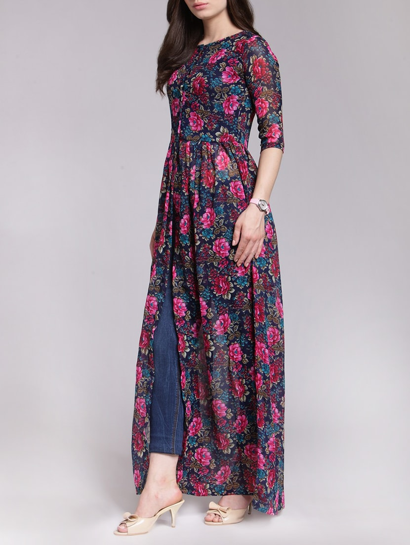f429bc8f0c4d3 Buy Floral Front Silt Maxi Tunic for Women from Cation for ₹1527 at 49% off