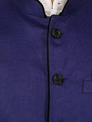 blue cotton blend nehru jacket - 15385843 - Standard Image - 4