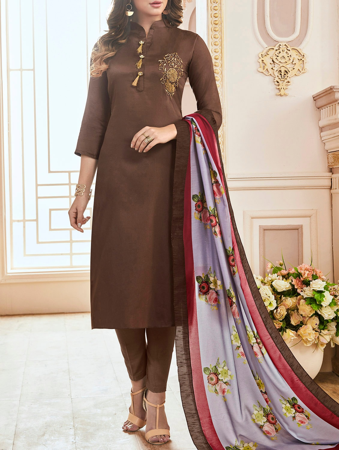fc36b303991 Buy Embellished Semi-stitched Straight Pant Suit by Shimeroo Fashion - Online  shopping for Semi-stitched Suits in India