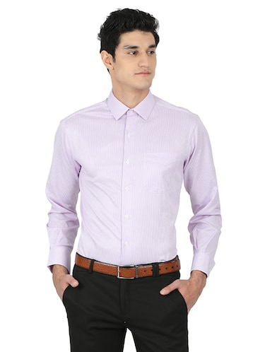 purple cotton blend formal shirt - 15389913 - Standard Image - 1