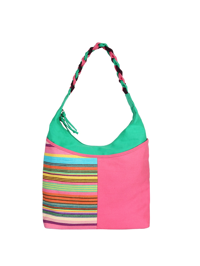 Pink Canvas Hobo Handbag By Anekaant Online Ping For Handbags In India 15399345
