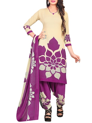 Printed unstitched combo suit - 15401084 - Standard Image - 4