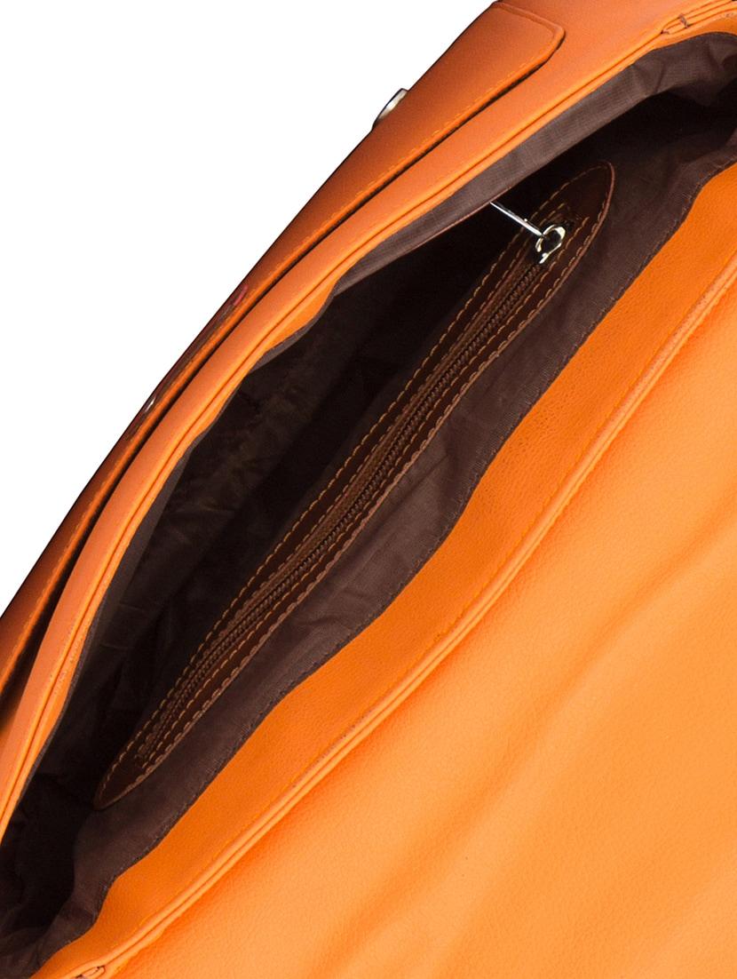 orange leatherette (pu) regular satchel
