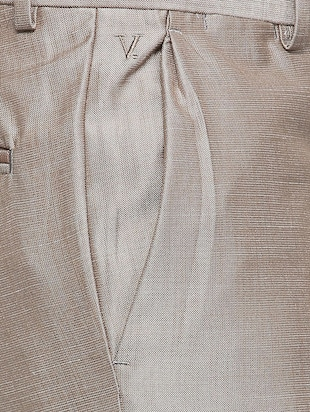 brown terry rayon pleated formal trouser - 15410834 - Standard Image - 4