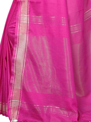 Linen maheshwari saree with blouse - 15410849 - Standard Image - 4