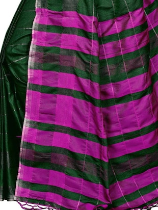 Linen Checkered woven saree with blouse - 15410863 - Standard Image - 4