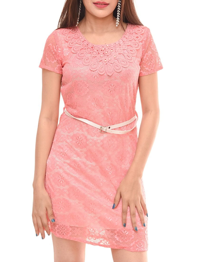 47ccbf8375 Buy Pearl Embellished Floral Lace Dress by Legacee - Online shopping for  Dresses in India