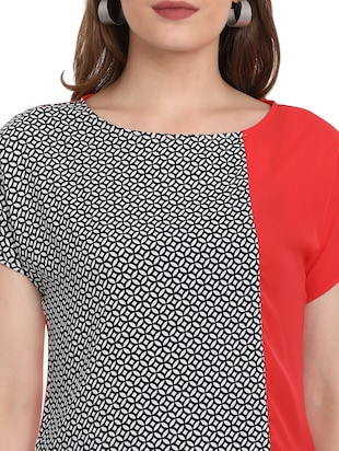 Printed round neck top - 15412848 - Standard Image - 4