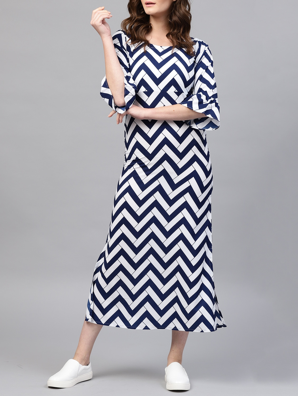 6c10230d0ea Buy Chevron Bell Sleeved Maxi Dress for Women from Gerua for ₹899 at 40%  off