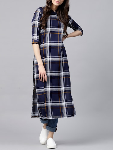 straight checkered kurta - 15413473 - Standard Image - 1