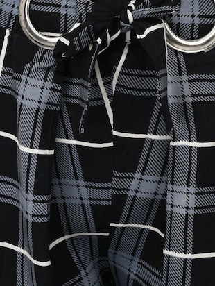 Checkered high-rise trouser - 15414330 - Standard Image - 4
