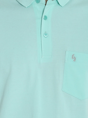 light blue cotton pocket  t-shirt - 15414726 - Standard Image - 4