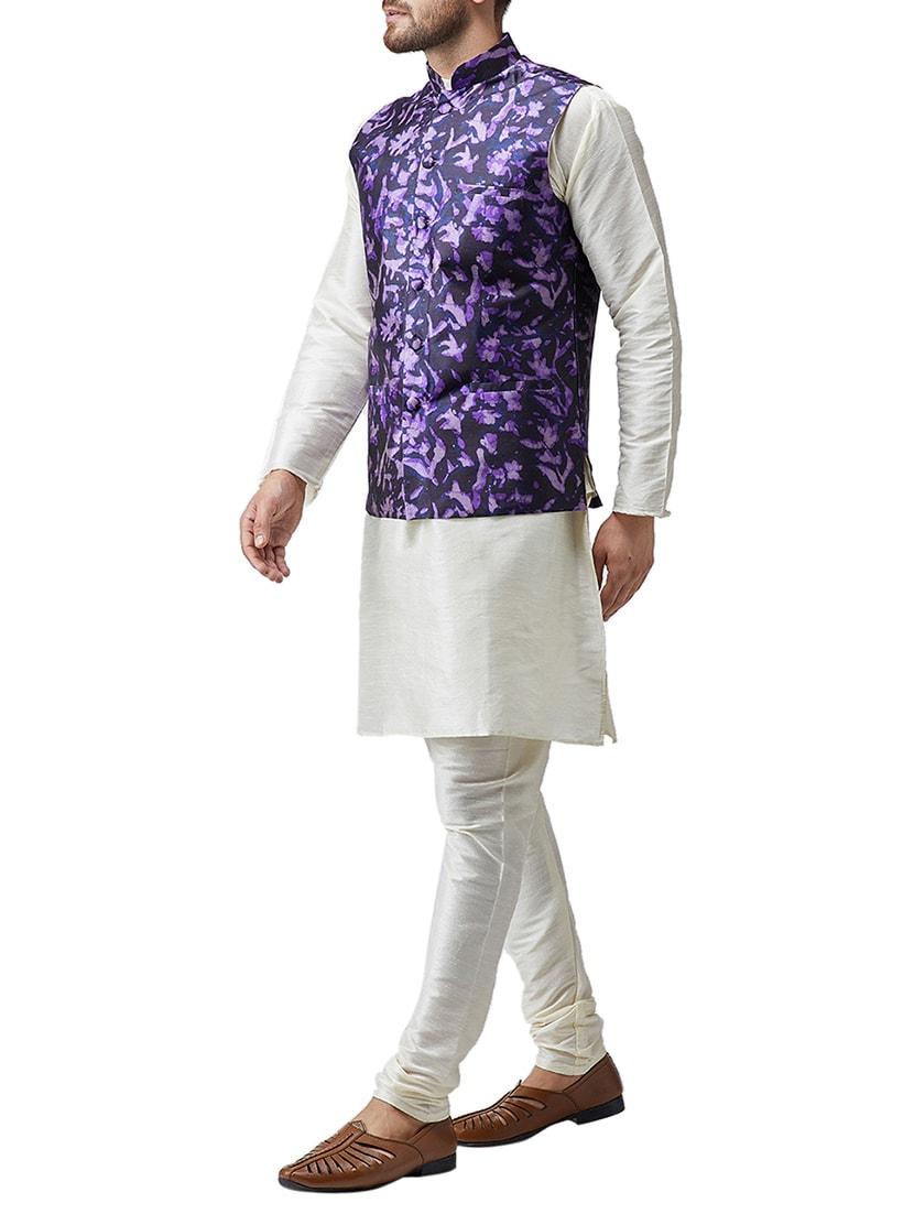 d8fa0b052 Buy Off White Silk Blend Kurta Pyjama Set With Nehru Jacket for Men from  Sojanya for ₹3083 at 68% off