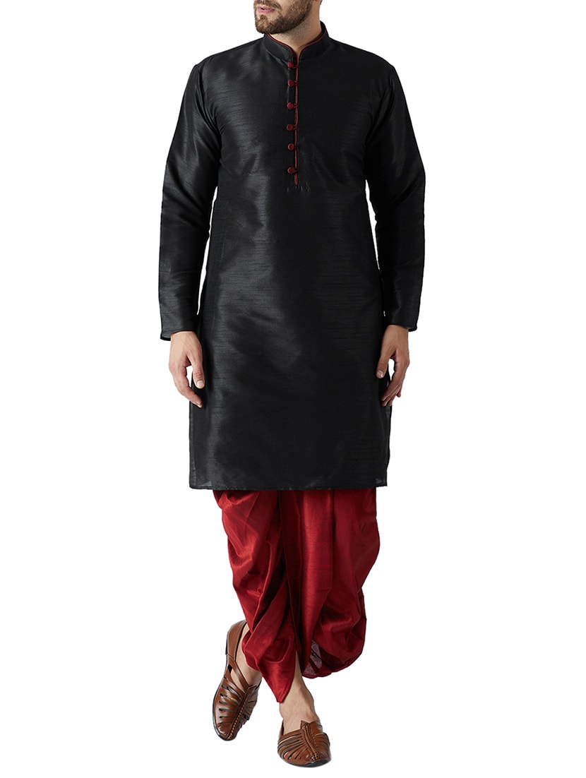 2577146afe Buy Black And Maroon Silk Blend Dhoti Kurta Set by Sojanya - Online  shopping for Ethnic Wear Sets in India