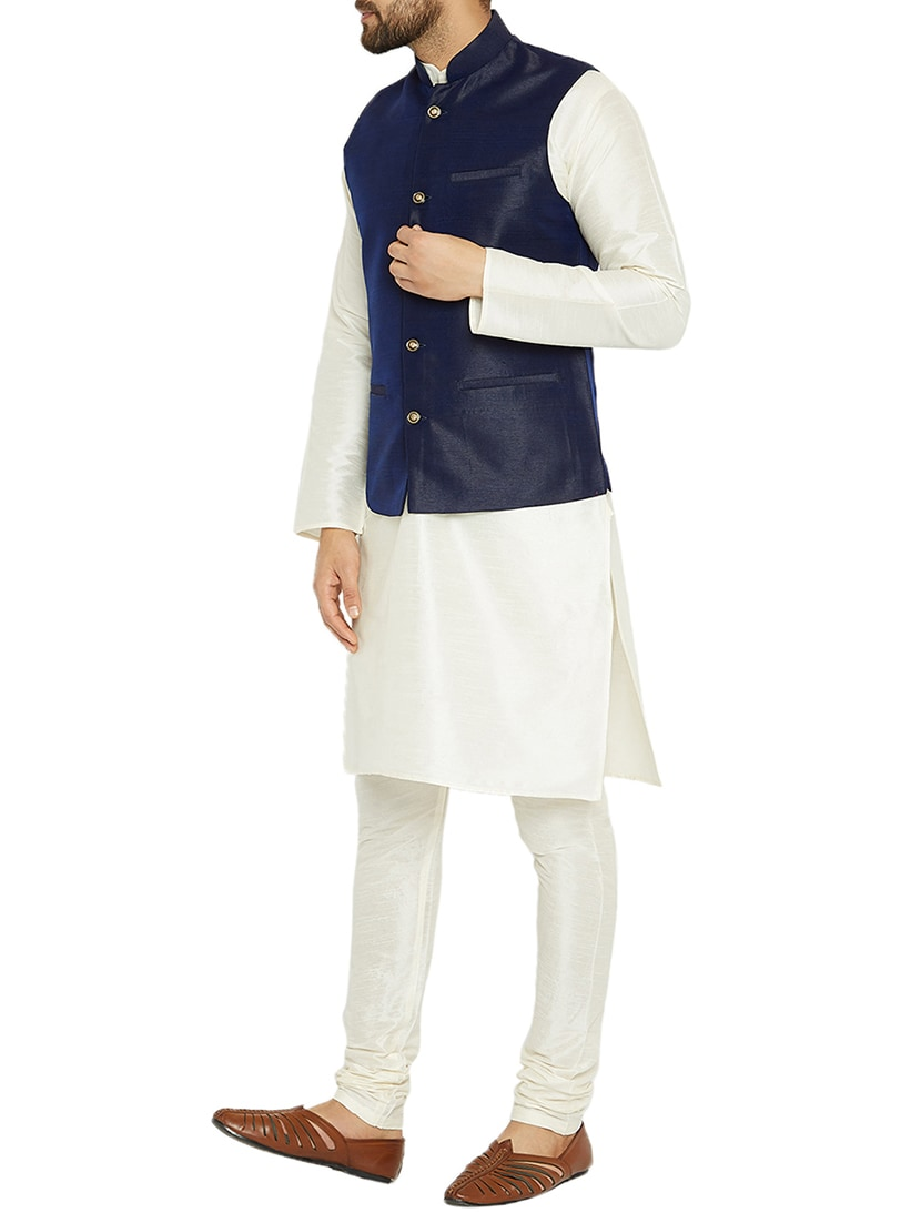 bf8fd35cd Buy White And Blue Dupion Kurta Pyjama Set With Nehru Jacket for Men from  Sojanya for ₹2738 at 66% off