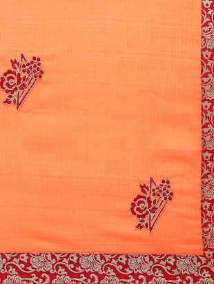 contrast floral thread embroidered saree with blouse - 15416242 - Standard Image - 4