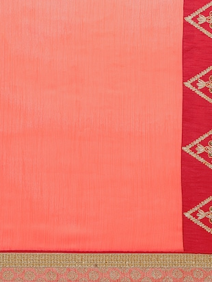 contrast embroidered border saree with blouse - 15416253 - Standard Image - 4