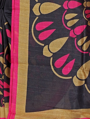Contrast bordered bhagalpuri saree with blouse - 15416455 - Standard Image - 4