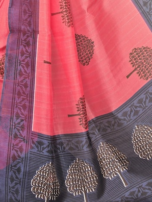 Contrast bordered bhagalpuri saree with blouse - 15416459 - Standard Image - 4