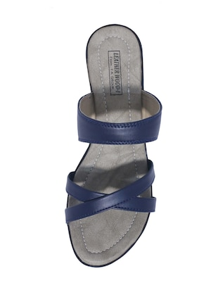 blue slip on sandals - 15416722 - Standard Image - 4
