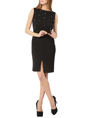 pearl embellished front slit dress - 15417292 - Standard Image - 4