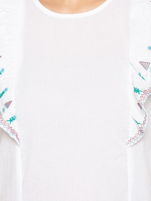 ruffle detail embroidered top - 15419201 - Standard Image - 4
