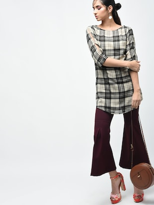 plaid boat neck tunic - 15419513 - Standard Image - 4