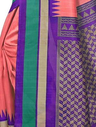 Temple bordered bhagalpuri saree with blouse - 15419896 - Standard Image - 4