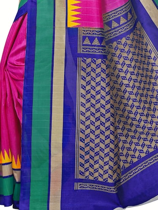 Temple bordered bhagalpuri saree with blouse - 15419898 - Standard Image - 4